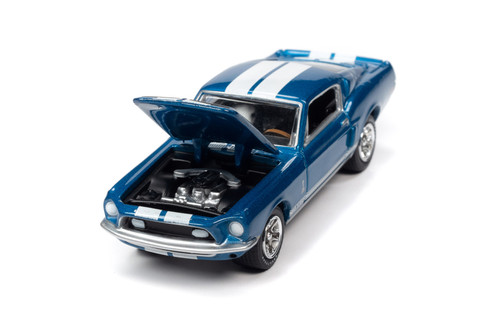 1968 Ford Mustang Shelby GT-350, Acapulco Blue - Johnny Lightning JLSP109/24B - 1/64 scale Diecast Model Toy Car