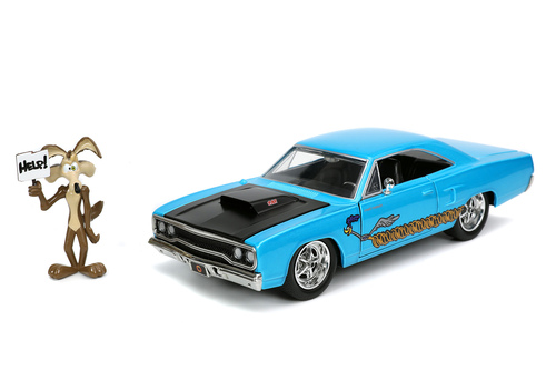1970 Plymouth Road Runner with Wile E. Coyote Figure, Looney Toons - Jada Toys 32038/4 - 1/24 scale Diecast Model Toy Car