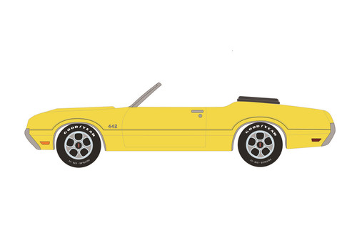 1970 Oldsmobile 442 Convertible (Lot #743), Sebring Yellow - Greenlight 37220C/48 - 1/64 scale Diecast Model Toy Car