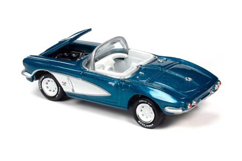 1962 Chevy Corvette, Metallic Teal Blue - Johnny Lightning JLCG023/48B - 1/64 scale Diecast Model Toy Car