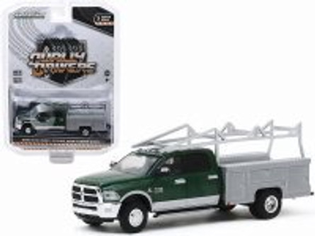 2018 Dodge Ram 3500 Dually Service Bed with Ladder Rack - Aluminum Service Body, Green - Greenlight 46030C/48 - 1/64 scale Diecast Model Toy Car
