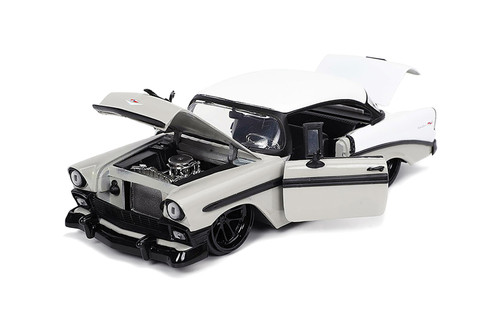 1956 Chevy Bel Air, Gray and White - Jada Toys 32696/4 - 1/24 scale Diecast Model Toy Car