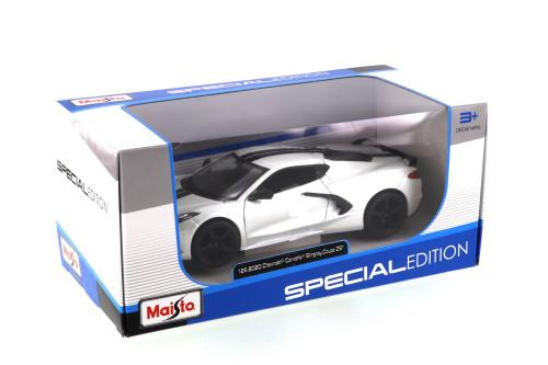 2020 Chevy Corvette Stingray Z51 Coupe, White - Maisto 31527W - 1/24 scale Diecast Model Toy Car