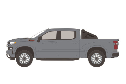 2020 Chevy Silverado Z71 Pickup Truck with Off-Road Parts, Satin Steel Gray - Greenlight 35190F/48 - 1/64 scale Diecast Model Toy Car