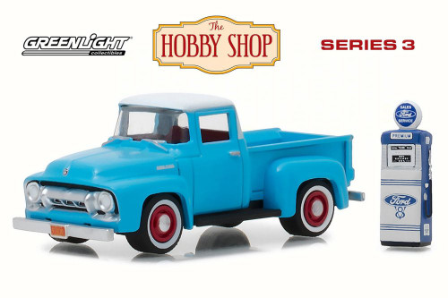 1954 Ford F-100 with Vintage Ford Motor Company Gas Pump, Light Blue - Greenlight 97030A/48 - 1/64 Scale Diecast Model Toy Car