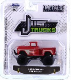 1955 Chevy Stepside, Red with Gray - Jada 14020-W20 - 1/64 scale Diecast Model Toy Car
