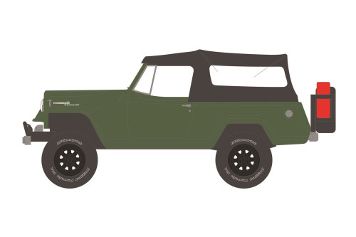 1968 Jeep Jeepster Commando with Soft Top and Off-Road Parts, Dark Green - Greenlight 35190A/48 - 1/64 scale Diecast Model Toy Car