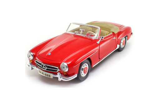 1955 Mercedes-Benz 190SL Convertible, Red - Maisto 31824R - 1/18 scale Diecast Model Toy Car