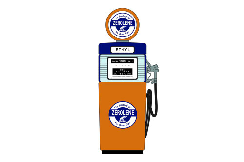 """Zerolene """"'The Standard Oil for Motor Cars"""" 1951 Wayne 505 Gas Pump, Orange and Blue - Greenlight 14090B - 1/18 scale Diecast Accessory"""