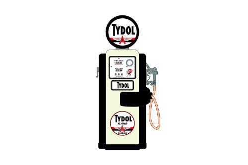 Tydol Flying Gasoline 1948 Wayne 100-A Gas Pump, Black and Cream - Greenlight 14090A - 1/18 scale Diecast Accessory