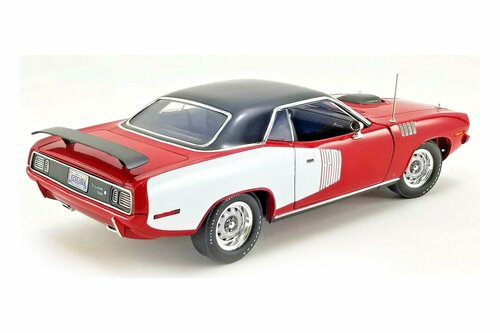 1971 Plymouth Hemi Barracuda Hardtop, Red with White and Black - Acme A1806121 - 1/18 scale Diecast Model Toy Car