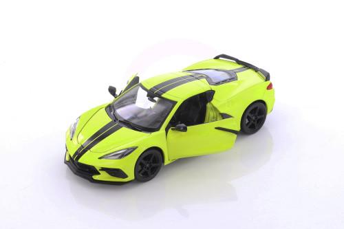 2020 Chevy Corvette Stingray Coupe Z51, Yellow - Showcasts 34527D4 - 1/24 scale Diecast Model Toy Car