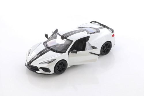 2020 Chevy Corvette Stingray Coupe Z51, White - Showcasts 34527D4 - 1/24 scale Diecast Model Toy Car