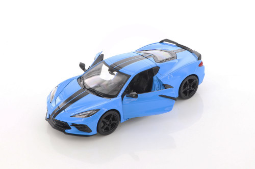 2020 Chevy Corvette Stingray Coupe Z51, Blue - Showcasts 34527D4 - 1/24 scale Diecast Model Toy Car