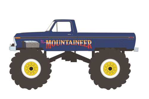 1979 Ford F-250 Monster Truck - West Virginia Mountaineer, Blue - Greenlight 49090E/48 - 1/64 scale Diecast Model Toy Car