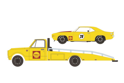 1967 Chevy C-30 Ramp Truck and 1969 Camaro #28 Shell Oil, Yellow and Red - Greenlight 33200A/48 - 1/64 scale Diecast Model Toy Car