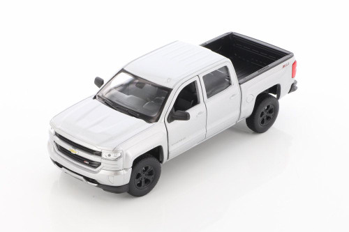 2017 Chevy Silverado Pickup, Silver - Welly 24083/4D - 1/29 scale Diecast Model Toy Car