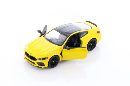 BMW M8 Competition Coupe, Yellow - Kinsmart 5425D - 1/38 scale Diecast Model Toy Car