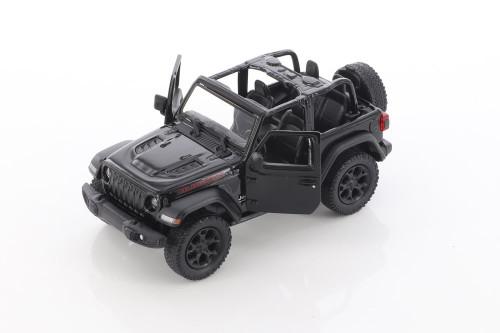 2018 Jeep Wrangler Rubicon Open Top, Black - Kinsmart 5412DA/BK - 1/34 scale Diecast Model Toy Car