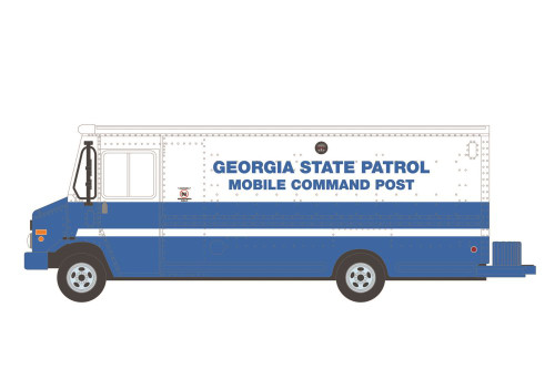 2019 Step Van Georgia State Patrol Mobile Command Post, Blue and White - Greenlight 33200C/48 - 1/64 scale Diecast Model Toy Car