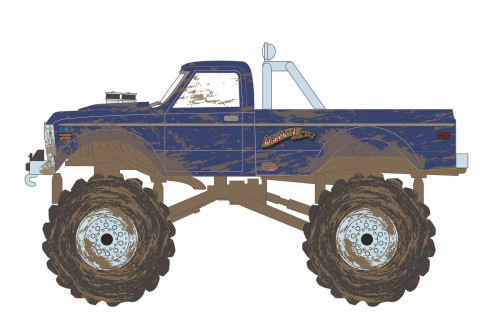 1970 Chevy K-10 Monster Truck - USA-1 (Heritage, Dirty version), Blue - Greenlight 49090F/48 - 1/64 scale Diecast Model Toy Car
