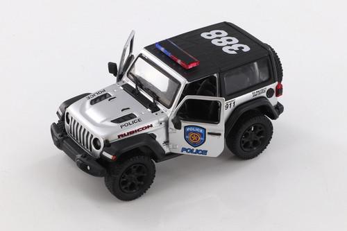 2018 Jeep Wrangler Rubicon Police Hard Top, Silver - Kinsmart 5412DPV - 1/34 scale Diecast Model Toy Car