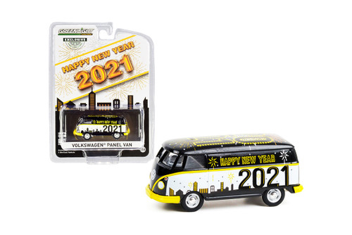 Happy New Year 2021 Volkswagen Type 2 Panel Van, Black and White - Greenlight 30222/48 - 1/64 scale Diecast Model Toy Car