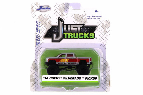 2014 Chevy Silverado Pickup, Silver and Red - Jada 14020-W25 - 1/64 scale Diecast Model Toy Car