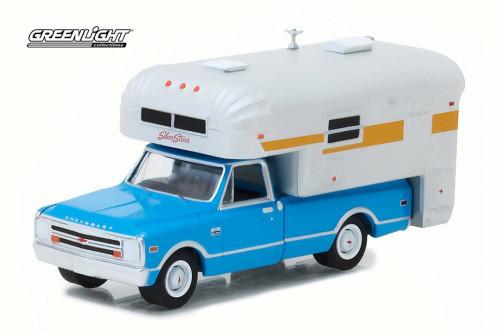 1968 Chevy Cheyenne C10 w/ Silver Streak Camper, Blue w/ White - Greenlight 29922/48 - 1/64 Scale Diecast Model Toy Car
