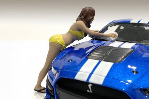 Bikini Car Wash Girl - Stephanie, Yellow - American Diorama 76266 - 1/18 scale Figurine - Diorama Accessory
