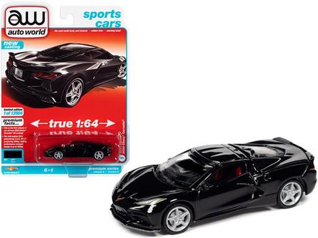 2020 Chevy Corvette, Black - Auto World AWSP065/24A - 1/64 scale Diecast Model Toy Car