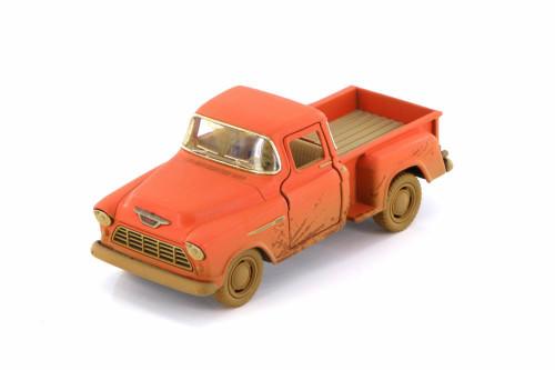 1955 Chevy Stepside Muddy Pickup Truck, Orange - Kinsmart 5330DY - 1/32 scale Diecast Model Toy Car