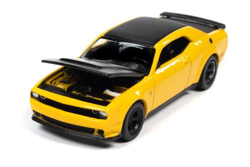 2018 Dodge Challenger SRT, Demon Yellow - Auto World AW64312/48B - 1/64 scale Diecast Model Toy Car
