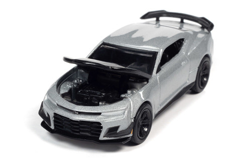 2019 Chevy Camaro ZL1 1LE, Satin Steel Silver Metallic with Black - Auto World AW64312/48B - 1/64 scale Diecast Model Toy Car