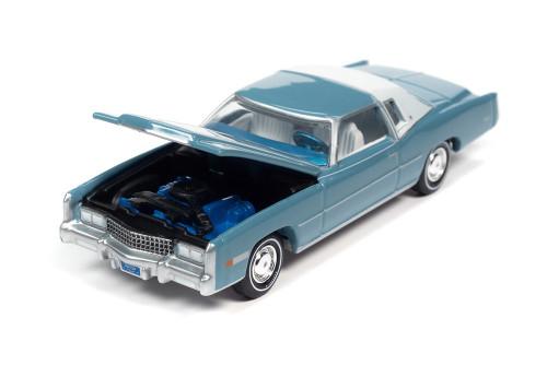 1975 Cadillac Eldorado, Jennifer Blue - Auto World AW64312/48B - 1/64 scale Diecast Model Toy Car