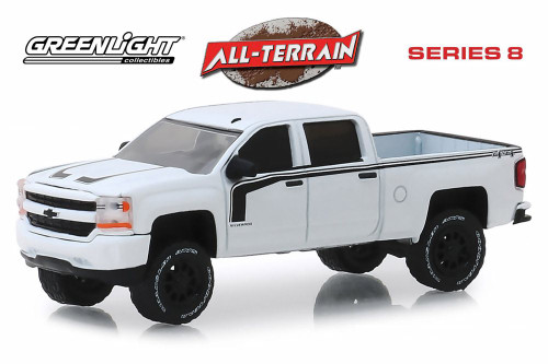 2017 Chevy Silverado Rally 2 Pickup Truck, White - Greenlight 35130E/48 - 1/64 Scale Diecast Model Toy Car
