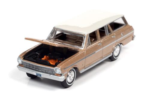 1963 Chevy II Nova 400 Station Wagon, Saddle Beige/Tan Metallic - Auto World AWSP067/24A - 1/64 scale Diecast Model Toy Car