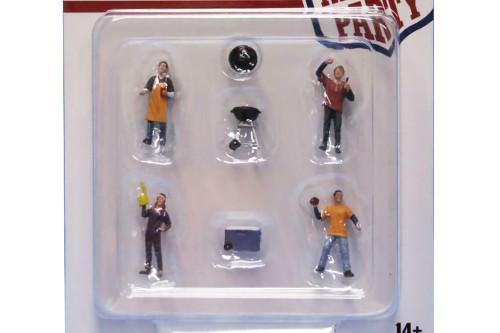 Tailgate Party Figure Set, Multi- American Diorama 76470MJ - 1/64 scale Figurine - Diorama Accessory