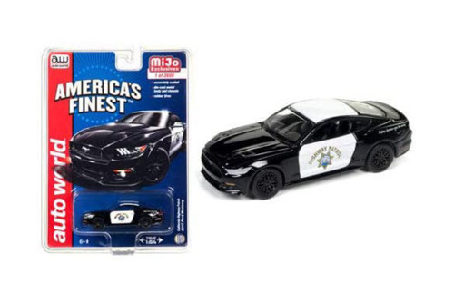 California Highway Patrol 2017 Ford Mustang GT, Black and White - Auto World CP7475/24 - 1/64 scale Diecast Model Toy Car