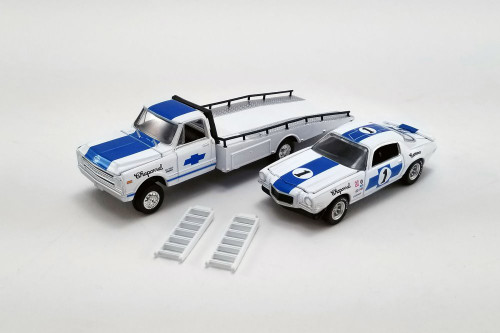 1967 Chevy C-30 Ramp Truck with 1970 Chevy Trans Am Camaro #1, White and Blue - Greenlight 51344 - 1/64 scale Diecast Model Toy Car