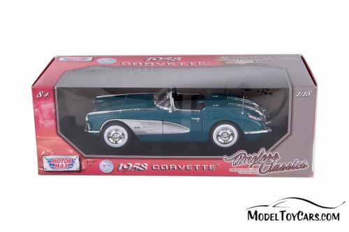 1958 Chevy Corvette Convertible, Blue - Motormax 73109TC/BU - 1/18 scale Diecast Model Toy Car