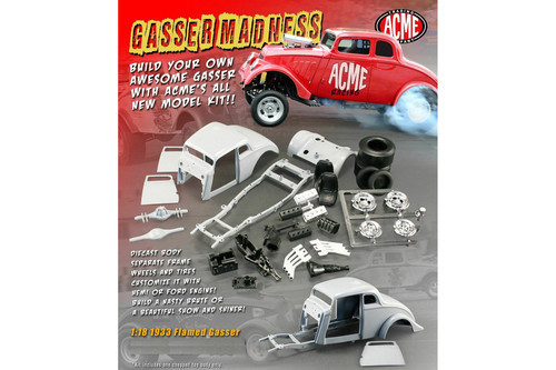 Flamed 1933 Gasser (Build Your Own Model Kit), Red - Acme A1800905K - 1/18 scale Diecast Model Toy Car