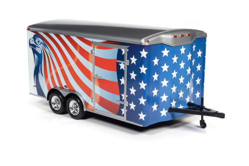 Four Wheel Enclosed Trailer, Red with White and Blue - Auto World AMM1266 - 1/18 scale Diecast Model Toy Car