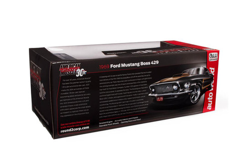 1969 Ford Mustang Boss 429 Fastback, Raven Black and gold - Auto World AMM1251 - 1/18 scale Diecast Model Toy Car