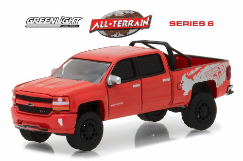 2018 Chevy Silverado 1500 Pick Up, Red - Greenlight 35090F/48 - 1/64 Scale Diecast Model Toy Car