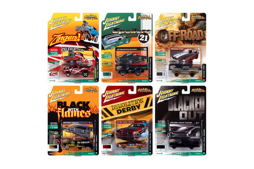 Johnny Lightning Street Freaks 2021 Release 1 Set A Diecast Car Set - Box of 6 assorted 1/64 Scale Diecast Model Cars