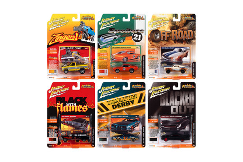 Johnny Lightning Street Freaks 2021 Release 1 Set B Diecast Car Set - Box of 6 assorted 1/64 Scale Diecast Model Cars
