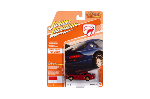1997 Dodge Viper GTS, Viper Red with Gold Wheels - Johnny Lightning JLCG024/48A - 1/64 scale Diecast Model Toy Car
