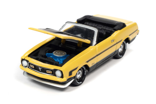 1972 Ford Mustang Convertible, Medium Bright Yellow - Johnny Lightning JLCG024/48A - 1/64 scale Diecast Model Toy Car