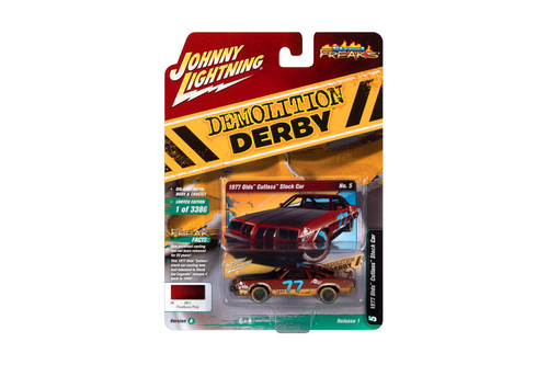 1977 Oldsmobile Cutlass Stock Car #77, Firehorn Red Metallic (Weathered Version) - Johnny Lightning JLSF019/48A - 1/64 scale Diecast Model Toy Car